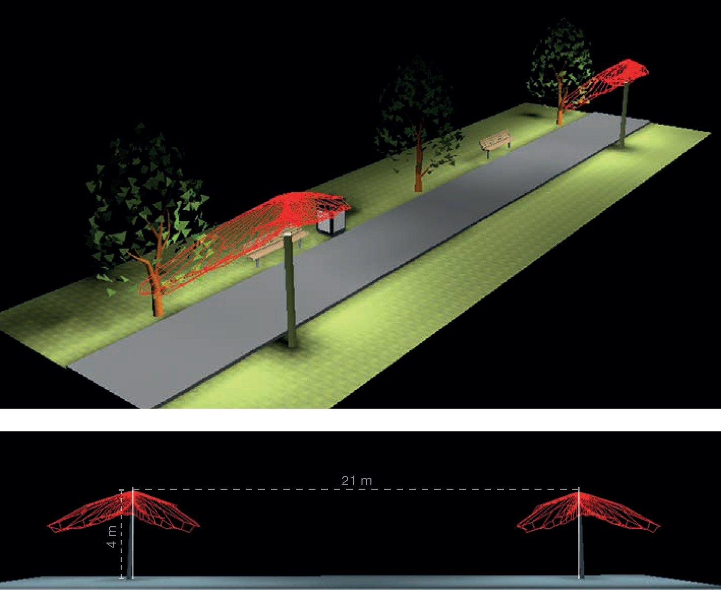 Aszimmetrikus útvilágító fényeloszlás